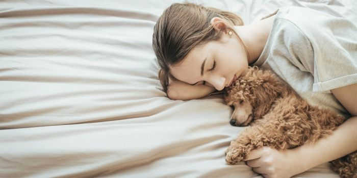 dog spooning with owner on the bed