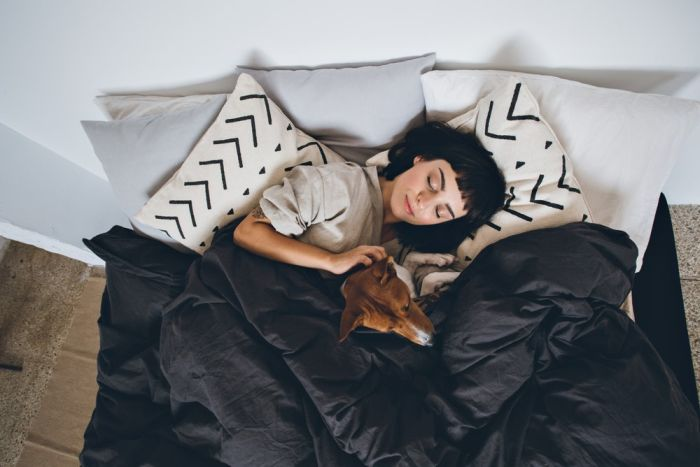 dog sleeping with a girl